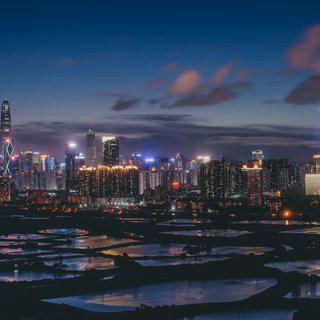 스마트한 중국의 미래 도시 '선전'에서 스카이라인 감상하기