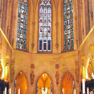 콜마르의 드높은 성당, '생마르탱 성직자회'에서 최후의 만찬 조각 보기